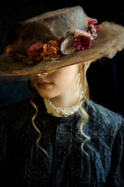 Debra Lill HISTORICAL WOMAN WEARING HAT WITH FLOWERS Women