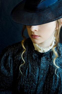 Debra Lill HISTORICAL WOMAN WEARING BLUE HAT Women