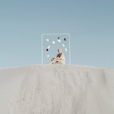 Jovana Rikalo WOMAN SITTING ON WHITE SAND Women