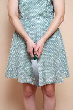 Miguel Sobreira RETRO WOMAN HOLDING KNIFE Women