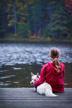 Jean Ladzinski GIRL SITTING ON JETTY WITH DOG Children