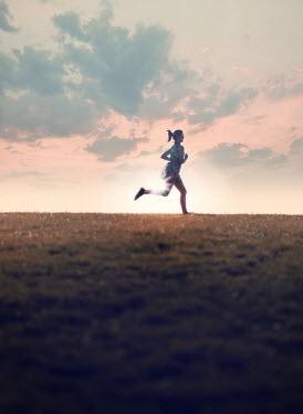 Mary Wethey WOMAN RUNNING IN SUMMERY FIELD Women