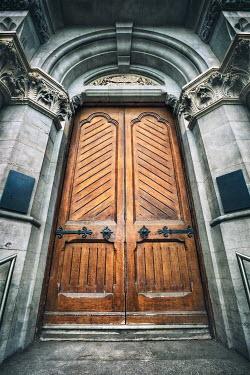 Evelina Kremsdorf WOODEN DOORS IN LARGE GRAND BUILDING Building Detail