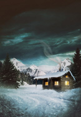 Sandra Cunningham CABIN IN SNOW WITH MOUNTAINS AT NIGHT Houses