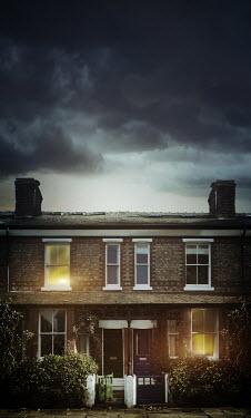 Sandra Cunningham TERRACED HOUSES WITH STORMY SKY Houses