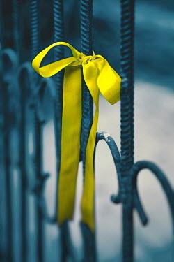 Magdalena Russocka yellow ribbon tied to iron railing Gates
