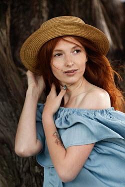 Elena Alferova WOMAN WITH RED HAIR AND STRAW HAT Women
