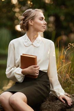Elena Alferova RETRO WOMAN HOLDING BOOK Women