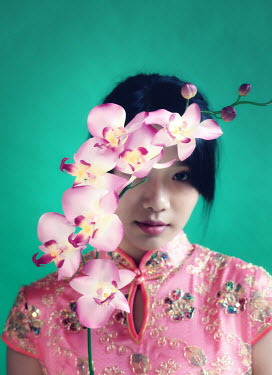 Elisabeth Ansley ASIAN WOMAN IN PINK WITH ORCHID Women