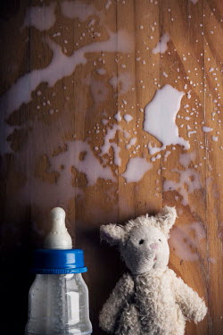 Kelly Sillaste TOY AND BOTTLE WITH SPILT MILK Miscellaneous Objects