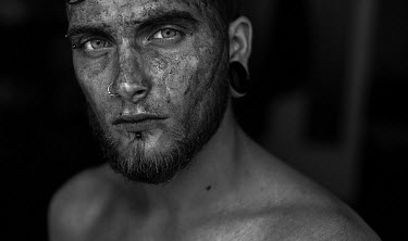 Dmitriy Bilous MAN WITH PIERCINGS BEARD AND DIRTY FACE Men