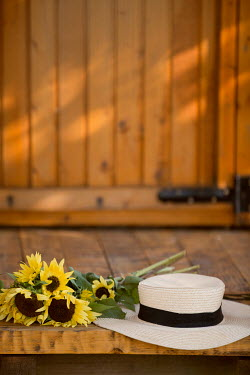 Aida Redzepagic HAT AND SUNFLOWERS ON OUTSIDE ON PORCH Flowers