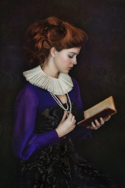 Beata Banach HISTORICAL WOMAN WITH RUFF READING BOOK Women