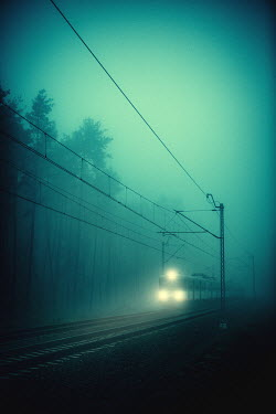 Magdalena Russocka train with headlights in misty forest Railways/Trains