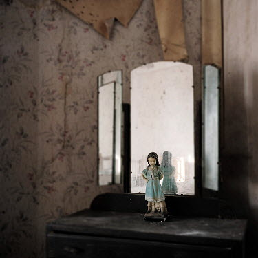 Brian Wells FIGURINE BY MIRROR IN DERELICT HOUSE Interiors/Rooms