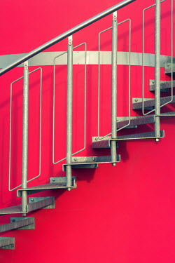 Mohamad Itani METAL STAIRS BY BRIGHT RED WALL Stairs/Steps