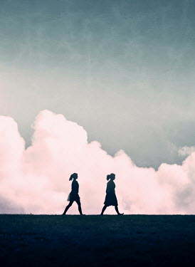 Mary Wethey SILHOUETTE OF TWO WOMEN WALKING PAST CLOUDS Women