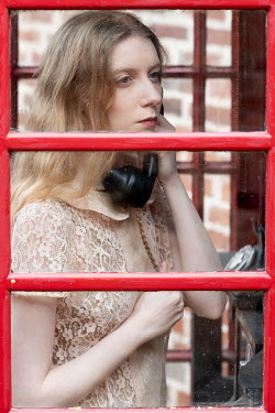 Rebecca Knowles YOUNG VINTAGE WOMAN INSIDE TELEPHONE BOX Women