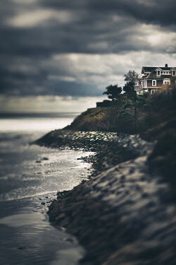 Lisa Bonowicz HOUSE ON CLIFF BESIDE STORMY SEA Houses