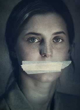 Mark Owen YOUNG WOMAN WITH TAPE OVER MOUTH Women