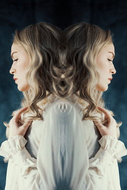 Rekha Garton REFLECTION OF VINTAGE WOMAN WITH CURLED HAIR Women