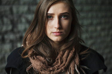 Dmitriy Bilous YOUNG BRUNETTE WOMAN WEARING SCARF Women