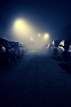 Lee Avison parked cars at night in fog Cars
