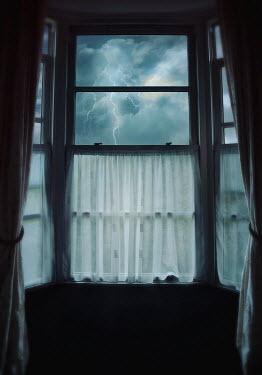 Lyn Randle LIGHTNING STORM THROUGH SHADOWY WINDOW Building Detail