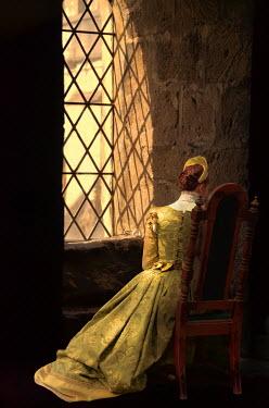 Jill Battaglia HISTORICAL WOMAN SITTING BY CASTLE WINDOW Women