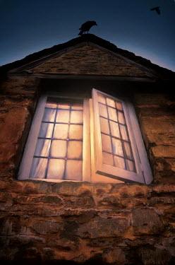 Jill Battaglia BIRD ON OLD HOUSE WITH OPEN WINDOW Houses