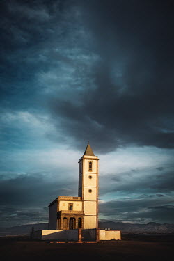 Evelina Kremsdorf CHURCH WITH MOUNTAINS AND STORMY SKY Religious Buildings
