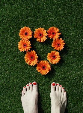 Manuela Deigert FEMALE FEET WITH ORANGE FLOWERS Women