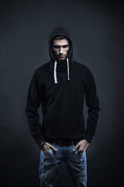 Paolo Martinez SERIOUS MAN IN HOOD AND JEANS Men