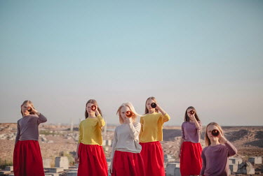 Dasha Pears GIRLS LOOKING THROUGH TELESCOPES Children