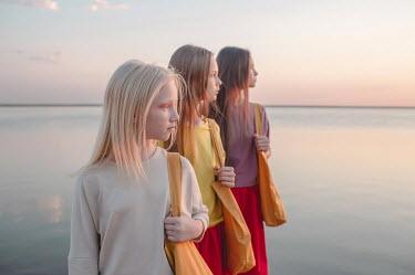 Dasha Pears THREE GIRLS STANDING NEAR WATER Children