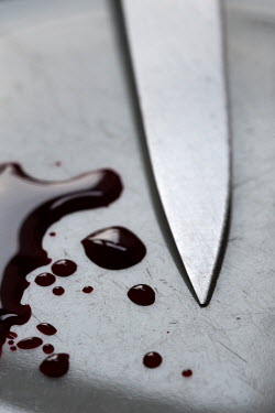 Lee Avison knife blade with drops of blood