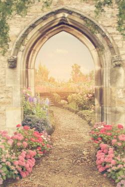 Victoria Davies ARCHWAY IN GARDEN WITH SUMMERY FLOWERS Paths/Tracks