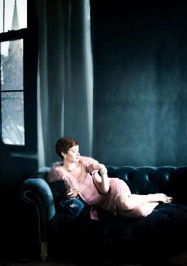 Elisabeth Ansley RETRO WOMAN IN PINK DRESS Women