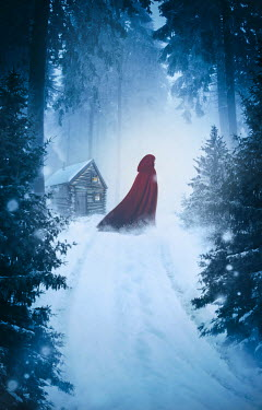 Sandra Cunningham WOMAN IN RED CAPE IN FOREST Women