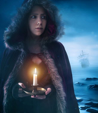 Sandra Cunningham HISTORICAL WOMAN HOLDING CANDLE BY SEA Women