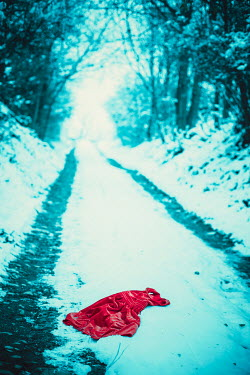 Ildiko Neer Child's red dress lying in snow