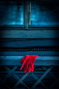 Magdalena Russocka red glove hanging on wooden fence