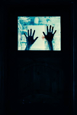 Magdalena Russocka silhouette of womans bloody hands behind window Women