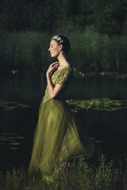 Patrick Den Drijver WOMAN IN GREEN SILK DRESS BY LAKE Women