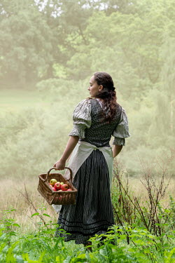 Stephen Mulcahey HISTORICAL GIRL CARRYING APPLES IN COUNTRYSIDE Women