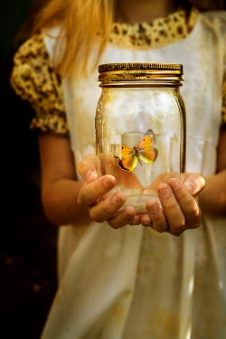 Stephen Mulcahey HISTORICAL GIRL HOLDING BUTTERFLY IN JAR Children