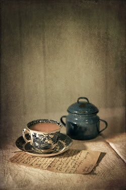 Peter Chadwick TEACUP LETTER AND POT ON TABLE Miscellaneous Objects