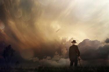 Ysbrand Cosijn RETRO MAN CARRYING GUN WITH STORMY SKY Men