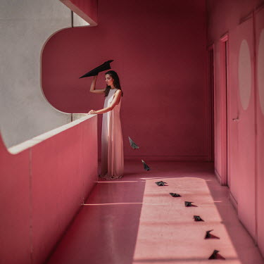 Dasha Pears WOMAN ON BALCONY WITH PAPER PLANES Women