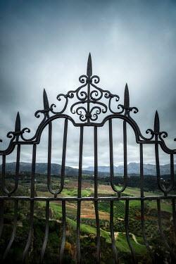 Evelina Kremsdorf WROUGHT IRON RAILING WITH LANDSCAPE Gates